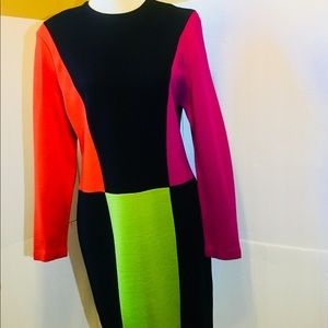 Outlander by Leslie Fay Bl Color Block Dress NWT